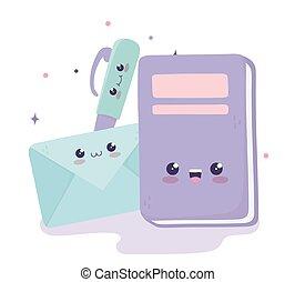 cute book envelope and pen kawaii cartoon character