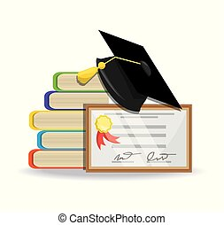 cute books with diploma and cap graduation