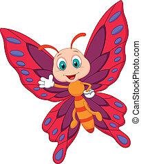 cute, borboleta, caricatura, waving