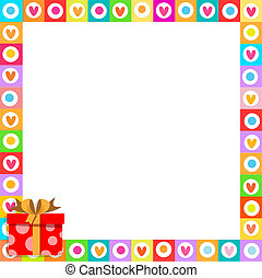 cute border made of doodle hearts with red gift box with ribbon in corner.