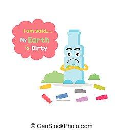 Cute bottle mascot sad trash littered