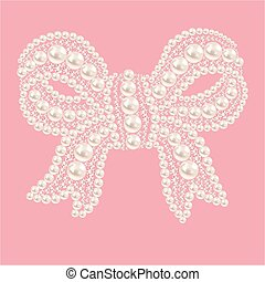 Cute bow with pearls and diamonds.