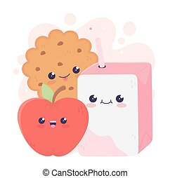cute box juice apple and cookie kawaii cartoon character