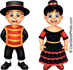 cute boy and girl cartoon standing using spanish costume with smiling