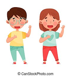 Cute Boy and Girl Characters Giving Oath Vector Illustration. Kid Demonstrating Honest Behavior and Morality Concept