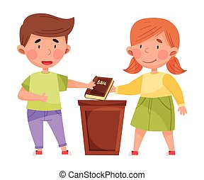 Cute Boy and Girl Characters Giving Oath with Bible Vector Illustration. Kid Demonstrating Honest Behavior and Morality Concept