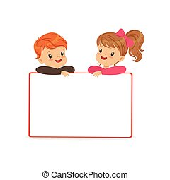 Cute boy and girl characters with white empty message board, kids standing behind placard vector Illustration