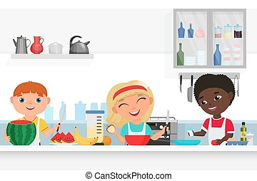 Cute Boy and Girl kids chef cooking in the kitchen vector illustration