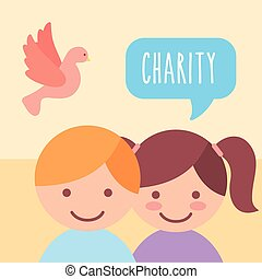 cute boy and girl pigeon donate charity