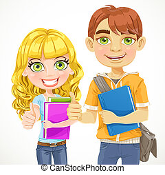 Cute boy and girl teenagers are ready for the new school year