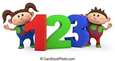 boy and girl with 123 numbers - cute boy and girl with 123...