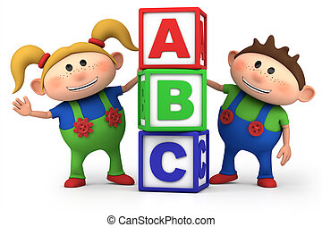 boy and girl with ABC blocks - cute boy and girl with ABC...