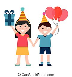 cute boy and girl with birthday gift and balloons