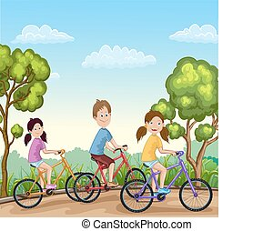 Cute boy and girls riding his bikes
