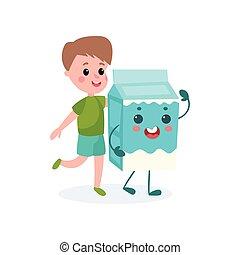 Cute boy and humanized cardboard milk box, healthy food for kid cartoon vector illustration