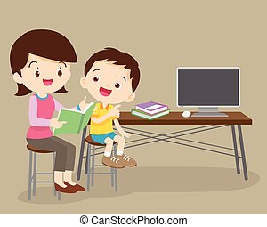 cute boy and mother reading book together