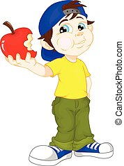 cute boy and red apple