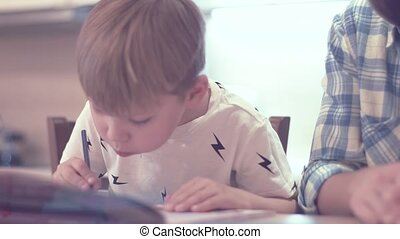 Cute Boy And Young Mother Doing Homework