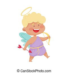 Cute Boy Angel with Gold Nimbus and Wings Holding Arrow and Bow Vector Illustration
