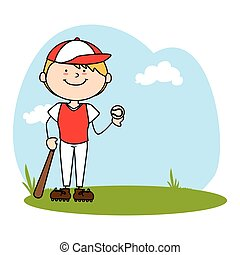 cute boy avatar character playing baseball