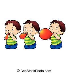 cute boy blow up balloon
