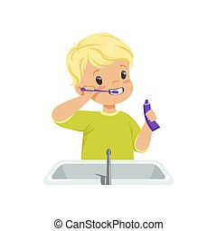Cute boy brushing his teeth, kid caring for teeth in bathroom vector Illustration on a white background