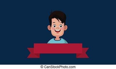 Cute boy cartoon HD animation