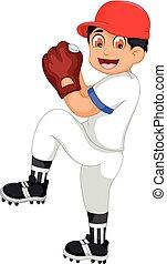 cute boy cartoon playing cricket