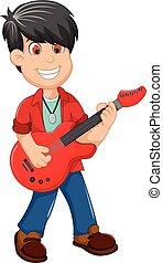 cute boy cartoon playing guitar