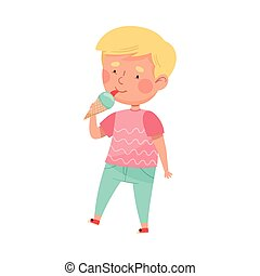 Cute Boy Character Eating Ice Cream in Waffle Cone Vector Illustration. Little Kid Enjoying Summertime and Sweet Sundae Concept