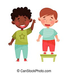 Cute Boy Characters Giving Oath to Tell Truth Vector Illustration. Kid Demonstrating Honest Behavior and Morality Concept