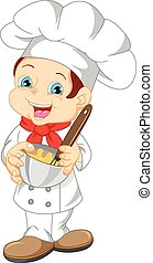 cute boy chef cartoon