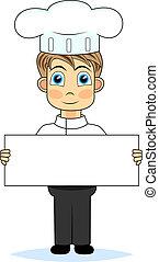 cute boy chef holding a blank sign
