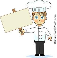 cute boy chef holding a wooden blan