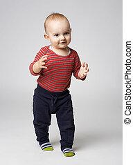 cute  boy dancing clapping