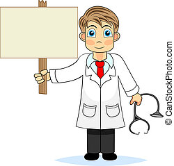 vector illustration of a cute boy doctor holding a blank wooden sign. No gradient