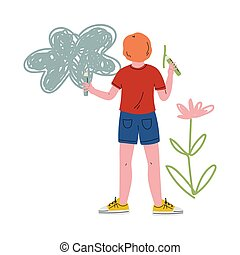 Cute Boy Drawing on Wall Using Color Pencils, View From Behind Vector Illustration