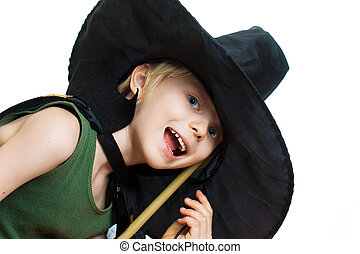 Cute boy dress up as witch