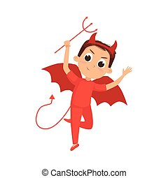Cute Boy Dressed in Halloween Dracula Devil Costume with Horns Vector Illustration