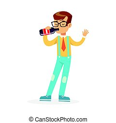 Cute boy drinking soda from a bottle, colorful character vector Illustration