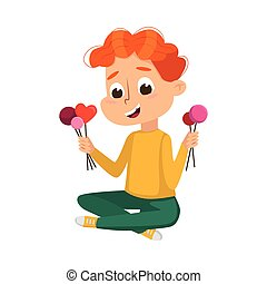 Cute Boy Eating Lot of Sweets, Child Sitting on Floor with Lollipops in his Hands, Kid Enjoying of Eating Yummy Dessert Cartoon Style Vector Illustration