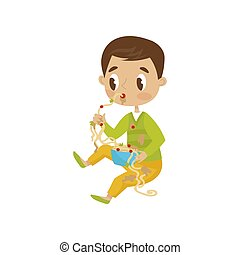 Cute boy eating messy, hoodlum cheerful kid, bad child behavior vector Illustration on a white background