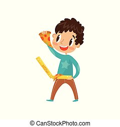 Cute boy eating pizza vector Illustration on a white background
