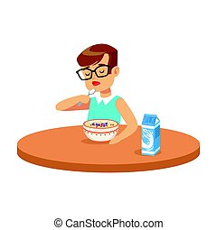 Cute boy eating porridge while having breakfast in the kitchen, colorful character vector Illustration