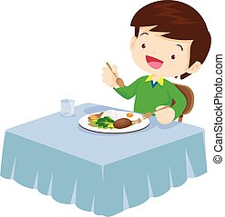 Cute Boy eating so happy and delicious - Illustration of a...