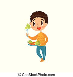Cute boy eating vegetables on a plate with fork vector Illustration on a white background