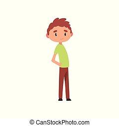 Cute boy, elementary school student cartoon vector Illustration on a white background