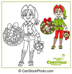 Christmas elf for coloring book. Cartoon illustration of ...