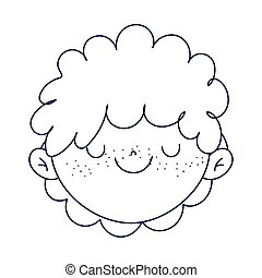 cute boy face cartoon character icon line style