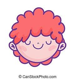 cute boy face cartoon character icon